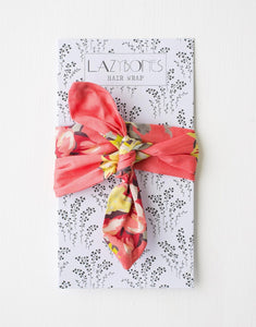 Lazybones Headband Hair Wrap Coral Floral - Global Free Style