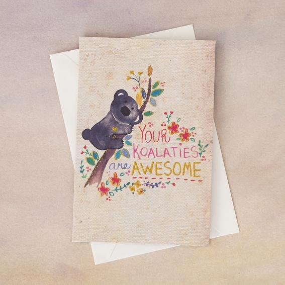 Natural Life Koalities Awesome Greeting Card - Global Free Style