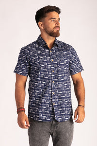 Skumi Mens Button Up Short Sleeve Shirt Fish Fish Navy - Global Free Style
