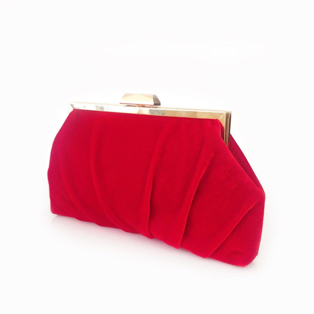 Adorne Pleated Velvet Frame Clutch Red - Global Free Style