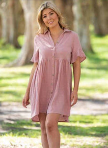Boho Sonnet Button Dress - 2 Colours - Global Free Style