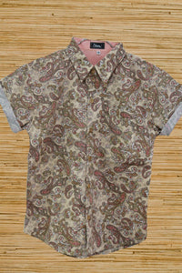 Skumi Boys Button Up Shirt Crazy Paisley Coffee