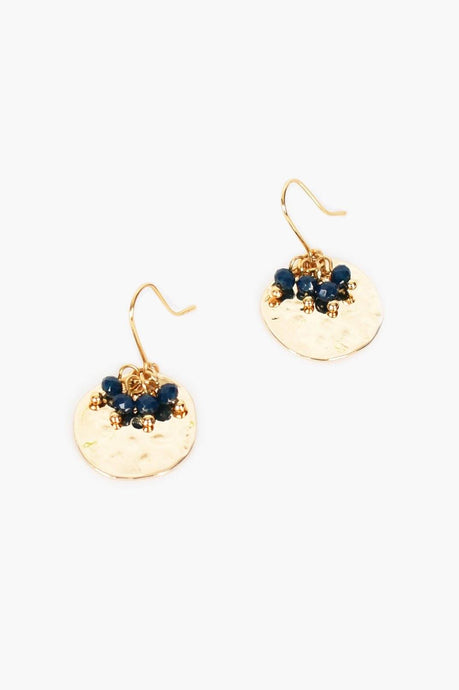 Adorne Mini Bead Cluster Disc Earrings Navy Gold - Global Free Style