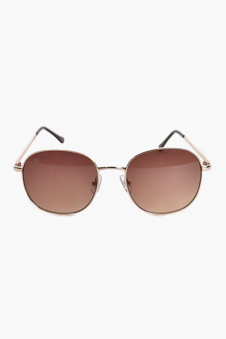 Adorne Yacht Club Sunglasses Gold Tan - Global Free Style