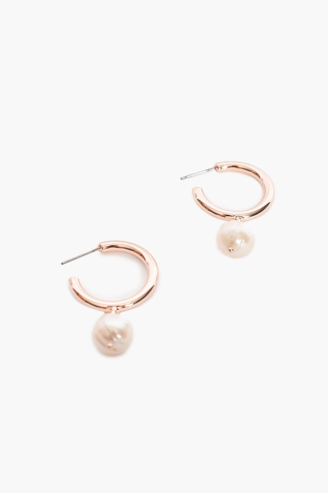 Adorne Mini Hoop Freshwater Pearl Drop Earrings Rose Cream - Global Free Style