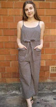 Worthier Keeley Linen Jumpsuit Navy Beige Check - Global Free Style
