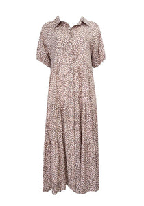 Ebby and I August Speckle Dress Brown - Global Free Style