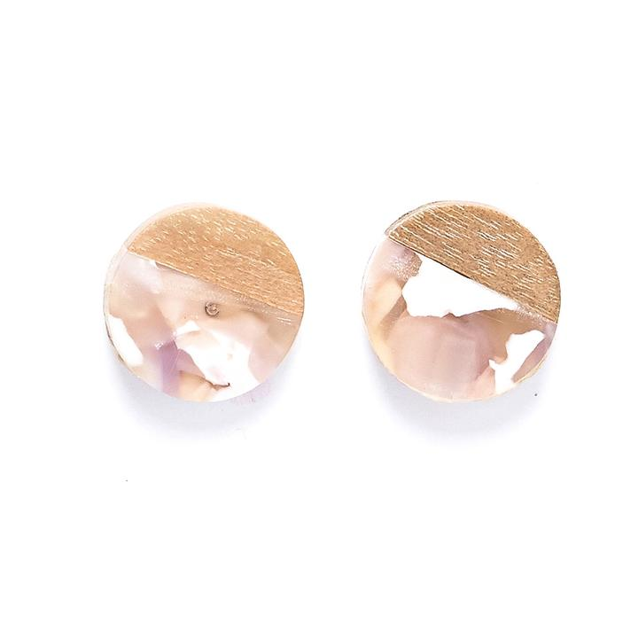 Rare Rabbit Slice New Resin and Wood Stud Earrings Multiple Colours - Global Free Style
