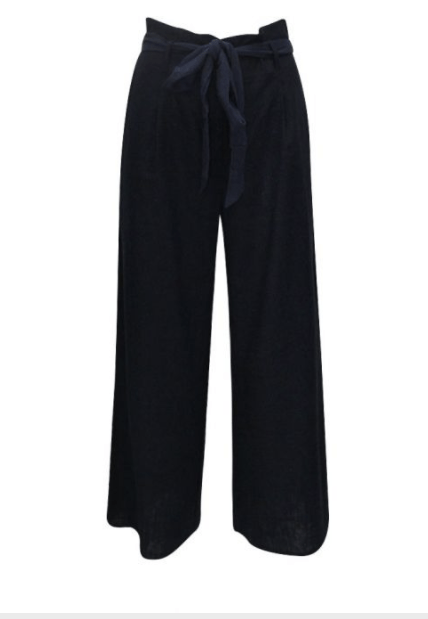 Sunny Girl Culotte Linen Pants Black - Global Free Style
