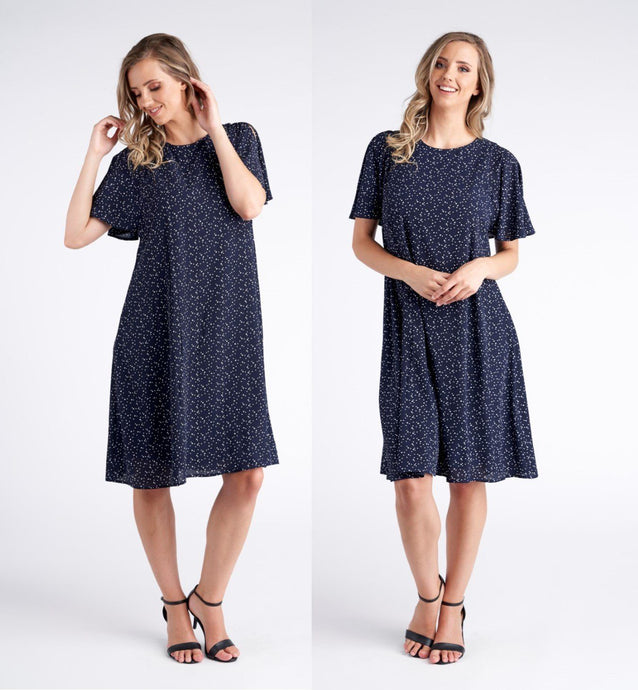 Vivid Cynthia Woven Crepe Dress Spot Print - Global Free Style