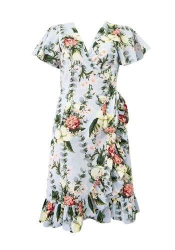 Sunny Girl Trinity Wrap Dress Blue Floral - Global Free Style