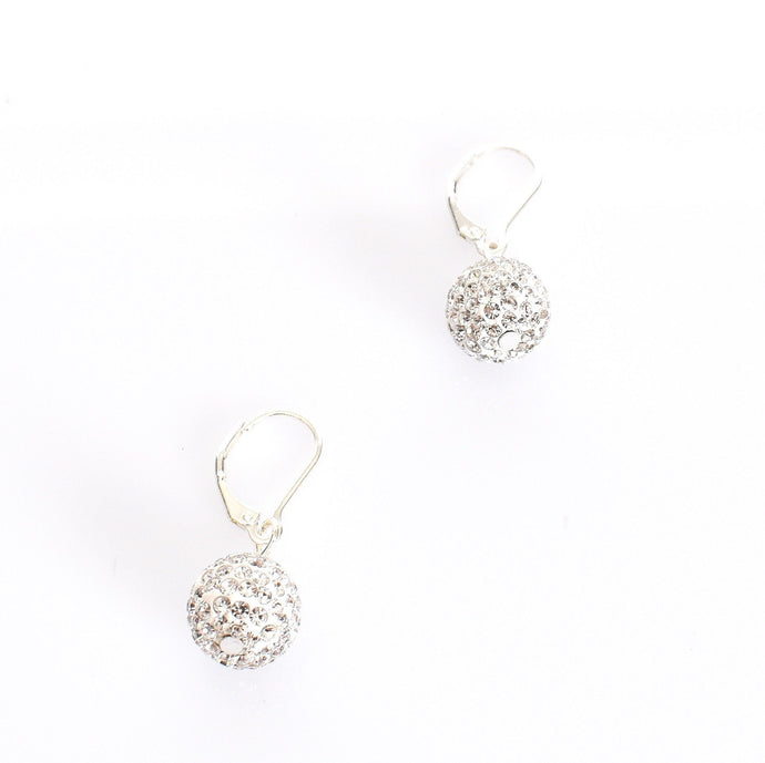 Adorne French Hook Diamante Ball Earrings Silver Crystal - Global Free Style