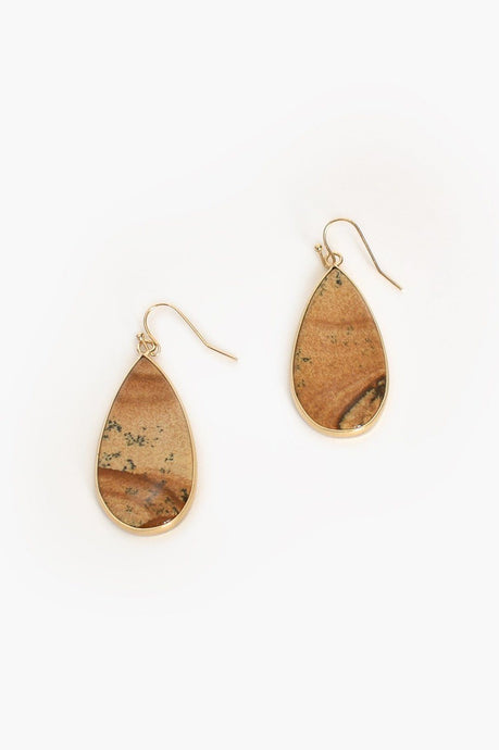 Adorne Stone Teardrop Hook Earrings Tan Gold - Global Free Style