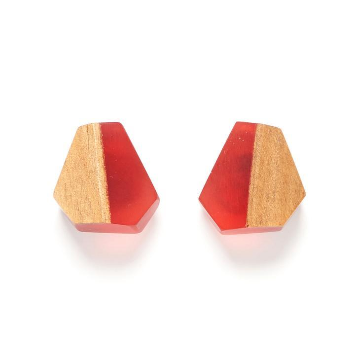 Rare Rabbit Faceted Moth Stud Earrings Red - Global Free Style