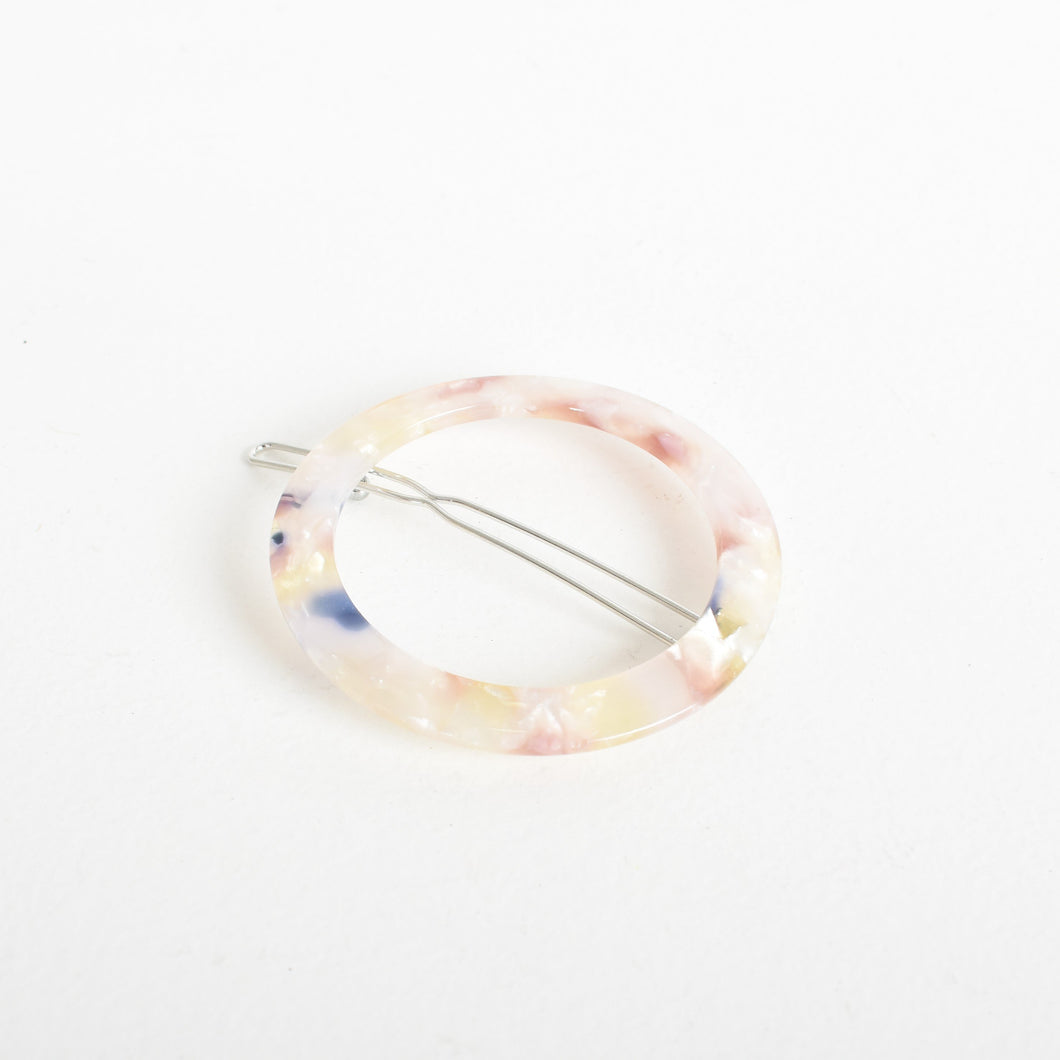 Adorne Dani Resin Ring Hair Clip Pink Multi Coloured Speckles - Global Free Style