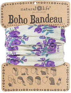 Natural Life Boho Bandeau Purple and Cream Blooms - Global Free Style