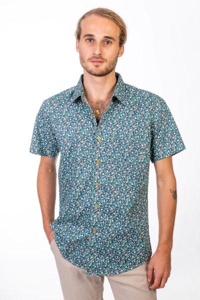 Skumi Mens  Short Sleeve Shirt Fantastic Floral - Cool Green - Global Free Style