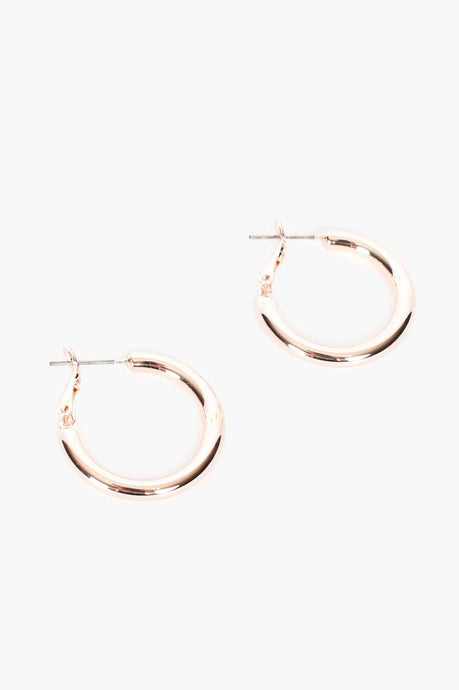 Adorne Mid Size Tube Hoops Rose Gold - Global Free Style