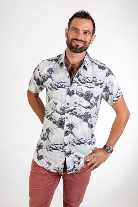 Skumi Mens Button Up Short  Sleeve The Wave White - Global Free Style