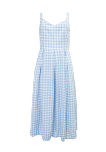 Sunny Girl Sheila Sleeveless Checked Dress Blue - Global Free Style