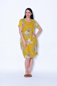 Cali & Co Short Sleeve Dress Bouquet Mustard - Global Free Style
