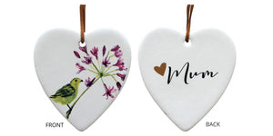 Lavida Hanging Ceramic Heart Agapantha Flower Mum - Global Free Style
