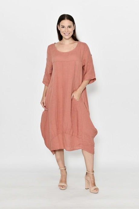 Cali & Co Cocoon Linen Dress Rust - Global Free Style