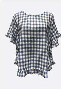 Worthier Piper Chequered Linen Top Blue - Global Free Style