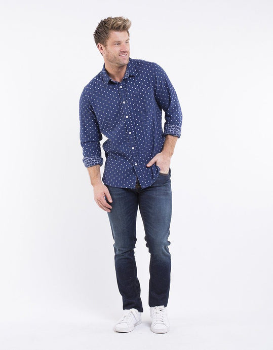 Chester St Galleria Long Sleeve Shirt Navy - Global Free Style