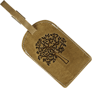 Lavida Leather Luggage Tag Tree Print Natural - Global Free Style