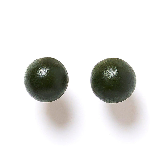 Rare Rabbit Earrings Round Ball Stud Olive Green. - Global Free Style