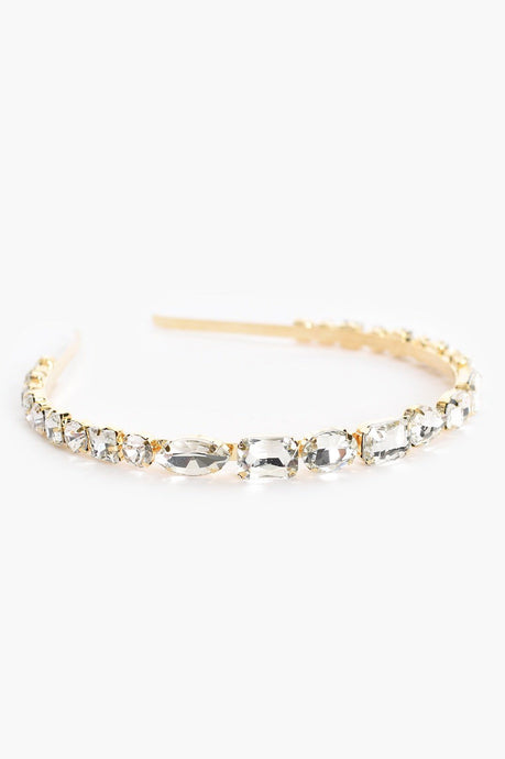 Adorne Princess Jewelled Headband Crystal/Gold - Global Free Style