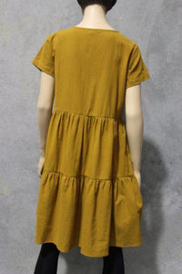 Ruby Street Danfield Tiered Cotton Dress Mustard - Global Free Style
