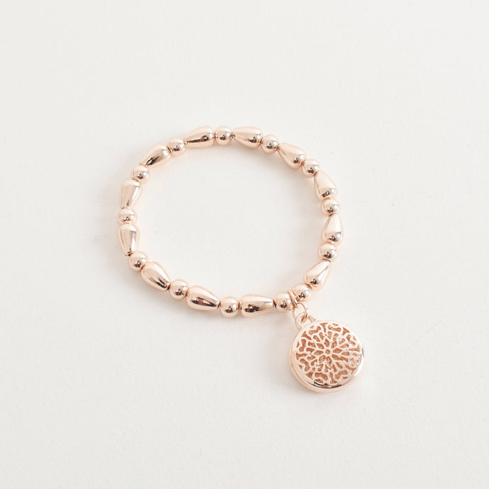 Adorne Cut Out Pattern Charm Bracelet Rose Gold - Global Free Style