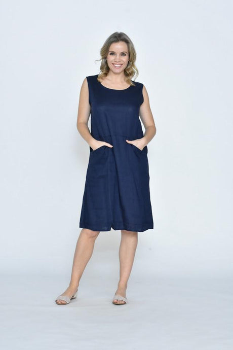 Cali & Co Aletha Sleeveless Front Pocket Linen Dress Navy - Global Free Style