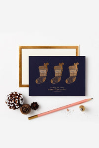 Katie Leamon Christmas Card Gold Stockings - Global Free Style