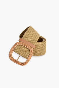 Adorne Rattan Buckle Weave Belt Natural - Global Free Style