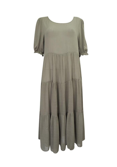 Ebby and I Eve Long Tiered Dress Khaki Green - Global Free Style
