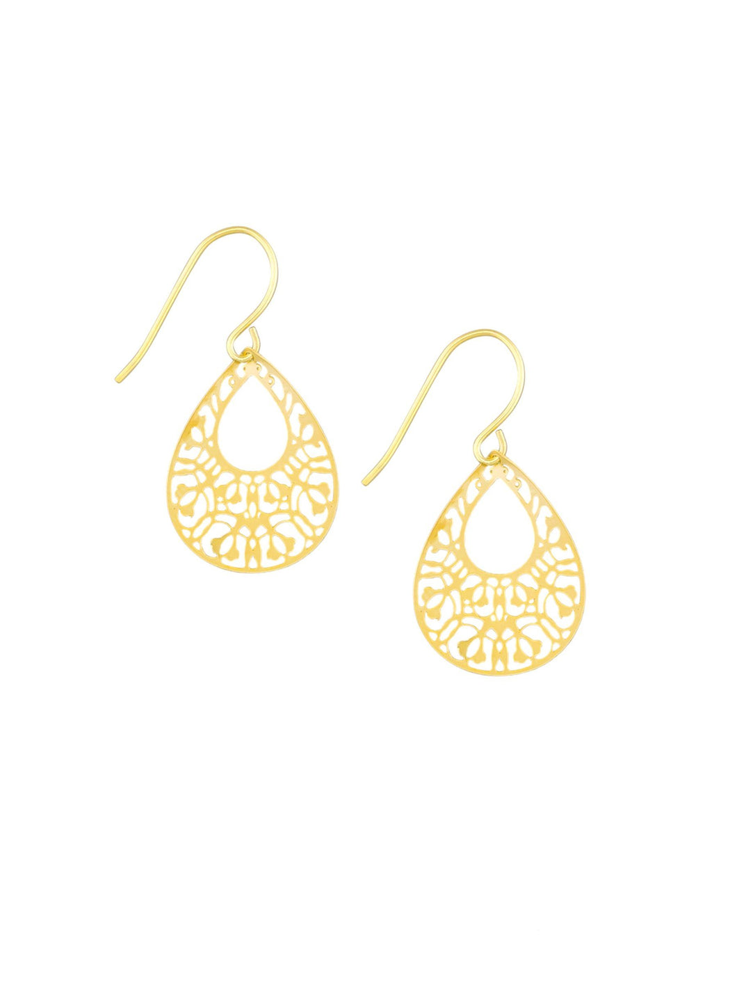 Tiger Tree Gold Mini Filigree Teardrops Earrings - Global Free Style