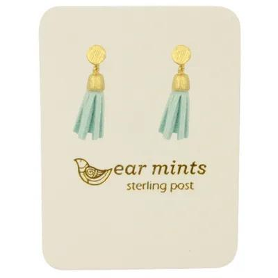 Fabienne Tassel Drop Stud Earrings Gold Mint - Global Free Style