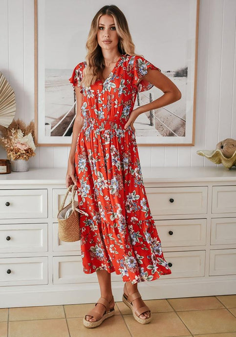 Sanctum The Label Floral Dress Red - Global Free Style