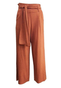 Sunny Girl Culotte Linen Pants - Rust - Global Free Style