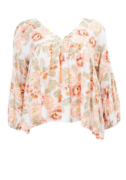 White Closet Adele Top Floral - Global Free Style