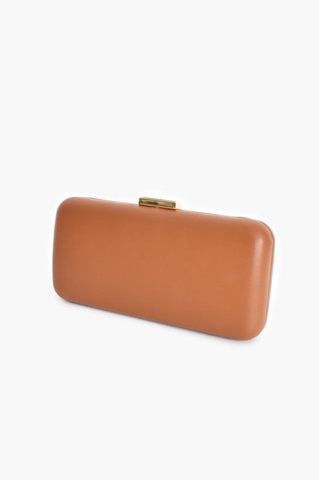 Adorne Gold Clasp Vegan Leather Structured Clutch Tan - Global Free Style