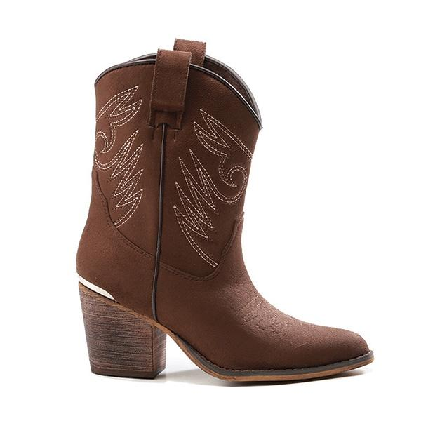 Corina Shoe Cowboy Boot Haf Coffee Brown - Global Free Style