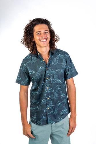 Skumi Mens Button Up Short Sleeve Mermaid Coal - Global Free Style