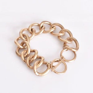 Adorne Curved Chain Link Bracelet Gold - Global Free Style