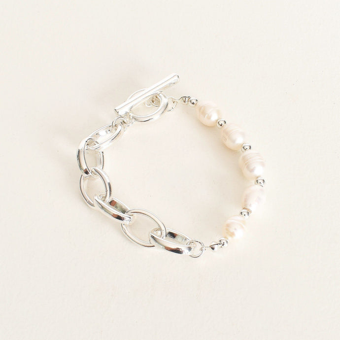 Adorne Pearl Panel Chain Bracelet Silver Cream - Global Free Style