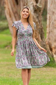 Boho Norah Dress Multi/ Mint - Global Free Style