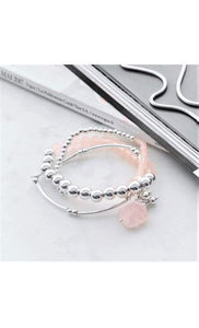 Adorne Trio Glass and Rose Quartz Bracelet Pink Silver - Global Free Style